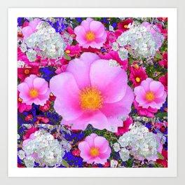 MODERN ART FUCHSIA ROSES  WHITE FLORAL GARDEN Art Print