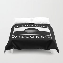 Milwaukee Wisconsin - Black - People's Flag of Milwaukee Duvet Cover