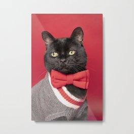 Portrait of a Well Dressed Black Cat Metal Print
