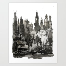 Industrial black and white city Art Print