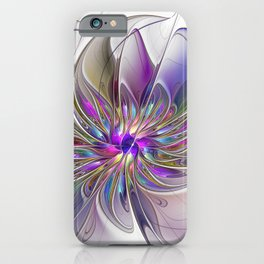 Energetic, Abstract And Colorful Fractal Art Flower iPhone Case