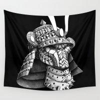 samurai Wall Tapestries featuring Samurai Helm by BIOWORKZ