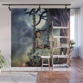 Cute little fairy with kitten on a swing Wall Mural