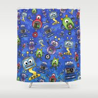 robots Shower Curtains featuring Little Robots  by Digi Treats 2