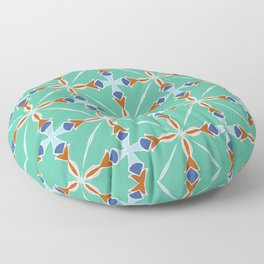 Milton green blue and pink pattern Floor Pillow