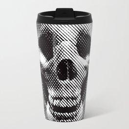 Hipster Skull Listening to Music on Headphones Travel Mug