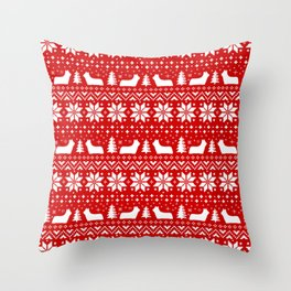 Skye Terrier Silhouettes Christmas Sweater Pattern Throw Pillow