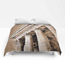 Ancient Roman Temple Nimes Provence France Sepia Comforters