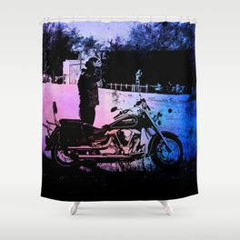 Biker with his motorcycle in a surreal landscape Shower Curtain