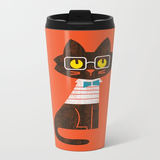 Fitz - Preppy cat Metal Travel Mug