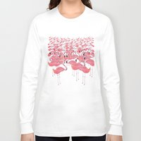 flamingos Long Sleeve T-shirts featuring Flamingos by Lydia Coventry