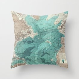 Vintage Green Transatlantic Mapping Throw Pillow