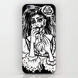 Victorian Zombie Girl Eating Heart Gothic Witchy Art iPhone Skin