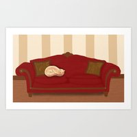 sofa Art Prints featuring Sofa Kitty by Roxie Prince