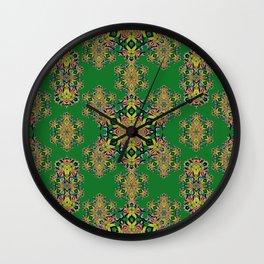 Hummingbird Trumpet Flower Kaleidoscope7 w/green background Wall Clock