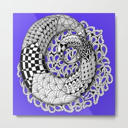 Zentangle Mobius Purple Metal Print