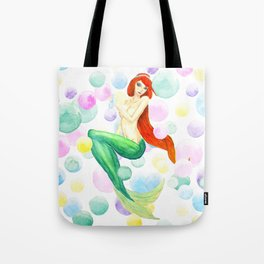 mermaid with colorful bubbles Tote Bag