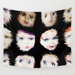 199 - Fast Faces abstract design black Wall Tapestry
