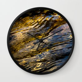 River Ripples in Copper Gold and Brown Wall Clock
