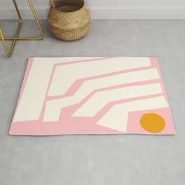Jagged Lines in Pink Rug