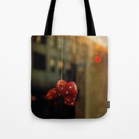 polka dots Tote Bags featuring Polka Dots by Bella Blue Photography