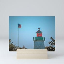 Lantern Room and Flag Old Point Comfort Lighthouse Fort Monroe Virginia Mini Art Print