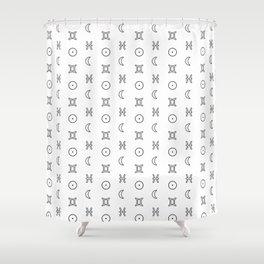 Gemini/Pisces + Sun/Moon Zodiac Glyphs Shower Curtain