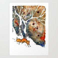 The Winter Fox Art Print