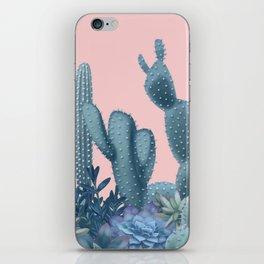 Milagritos Cacti on Rose Quartz Background iPhone Skin