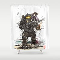 bioshock Shower Curtains featuring Bioshock Subject Delta and Little Sister by mycks