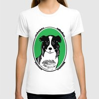 border collie T-shirts featuring Border Collie Printmaking Art by Artist Abigail