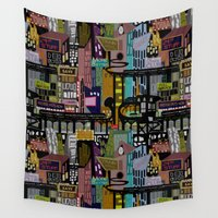 mid century Wall Tapestries featuring Mid-Century City by scott sherwood