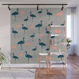 Tropical Gathering Flamingo Design Wall Mural