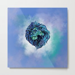 mandala blue lion Metal Print
