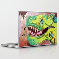 sci fi Laptop & iPad Skins featuring Sci-fi Dinosaur. by Rachel Alderson