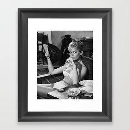 Brigitte Bardot Drinking and Smoking a Cigarette black and white photography / art photograph Framed Art Print