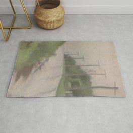 Beach Road after Rain - Clarice Beckett - Australian abstract Realism Rug