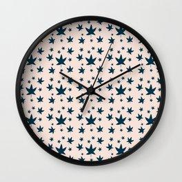Leaves Neck Gator Blue Leaf Wall Clock