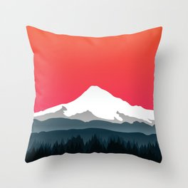 Mount Hood Winter Forest - Sunset Throw Pillow