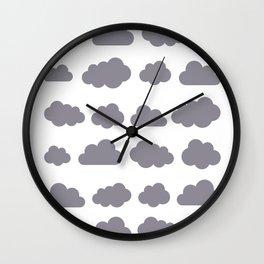Grey clouds winter time art Wall Clock