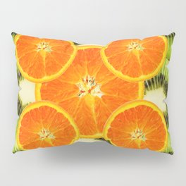 GREEN KIWI & JUICY ORANGE SLICES MODERN ART Pillow Sham