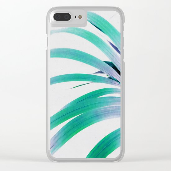 Colored Palm Leaf Clear iPhone Case