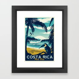Costa Rica Retro Vintage Travel Poster Toucan Wave Surf Palm Trees Framed Art Print