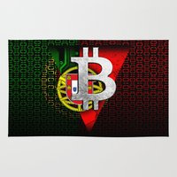 portugal Area & Throw Rugs featuring bitcoin Portugal by seb mcnulty