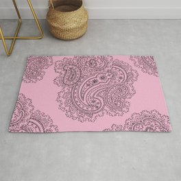 Pink and Grey Paisley Graphic Design Rug