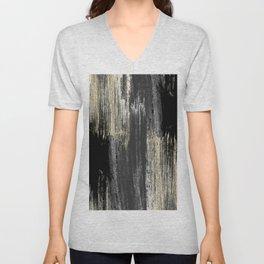 Abstract modern black gray gold glitter brushstrokes Unisex V-Neck