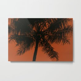 Palm Tree Black Red Summer Beach Metal Print