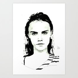 Cara Delevingne  Portrait Art Print