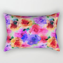 Colorful abstract modern roses flowers pattern Rectangular Pillow