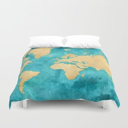 """Teal watercolor and gold world map with countries and states """"Lexy"""" Duvet Cover"""